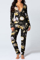 Black Living Print Split Joint V Neck Skinny Jumpsuits
