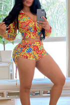 multicolor Polyester Fashion Active Print Two Piece Suits Straight Long Sleeve Two Pieces