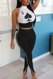 White Milk Silk Fashion adult Ma'am Street Print Two Piece Suits pencil Sleeveless Two Pieces