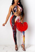 Red Polyester Fashion Sexy adult Patchwork Print backless Tie Dye Bandage Two Piece Suits pencil Sleeveless Two Pieces