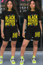 Black Polyester Fashion Sexy adult Ma'am Print Two Piece Suits pencil Short Sleeve Two Pieces