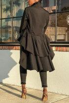 Black Turndown Collar Long Sleeve asymmetrical Patchwork Blouses & Shirts