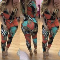 colour Polyester Print sexy Jumpsuits & Rompers