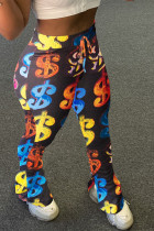 Black Casual Polyester Print Fold Boot Cut Bottoms