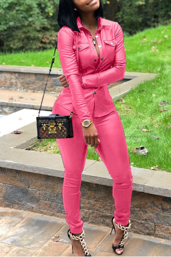 Pink Street Solid Split Joint Turndown Collar Long Sleeve Two Pieces