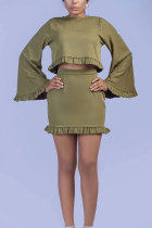 Army Green Sexy Fashion Cap Sleeve Long Sleeves O neck Bud Mini Patchwork Two Piece Dresses