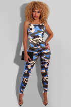 Camouflage Sexy Fashion Backless Patchwork Camouflage Print Sleeveless Slip Jumpsuits