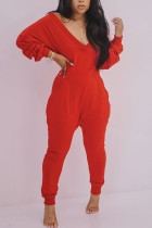 Red Sexy Casual Polyester Spandex Cotton Blends Solid V Neck Loose Jumpsuits
