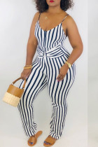 Navy Blue Sexy Striped Polyester Sleeveless Slip Jumpsuits