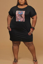 Black Polyester Fashion Sexy adult Ma'am O Neck Print Pattern Plus Size