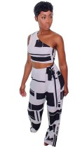 As Show Print Mid Waist Two-piece suit