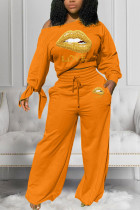 Orange Casual Polyester Fiber Letter Print Solid Lips Printed Pullovers Pants Knotted Bateau Neck Long Sleeve Regular Sleeve Regular Two Pieces