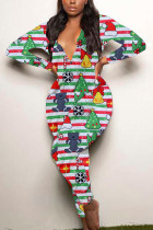 Red Sexy Party Patchwork Print Santa Claus V Neck Skinny Jumpsuits