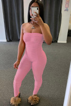 Pink Fashion Sexy Solid Draped Milk. Sleeveless Wrapped Jumpsuits