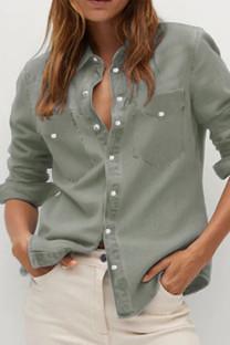 Grey Street Solid Turndown Collar Outerwear