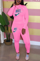 Pink Casual Letter Print Split Joint O Neck Long Sleeve Two Pieces