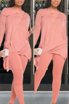 Pink Polyester Fashion Casual adult Ma'am Patchwork Solid Two Piece Suits pencil Long Sleeve Two Pieces