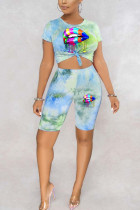 Turquoise Polyester Fashion adult England Ma'am Print Tie Dye Two Piece Suits pencil Short Sleeve Two Pieces