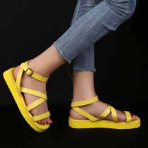 Yellow Fashion Casual Round Out Door Leather Shoes