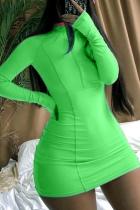Light Green Sexy Solid Split Joint Half A Turtleneck A Line Dresses