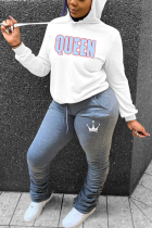 Grey Sportswear Print Letter Hooded Collar Long Sleeve Two Pieces