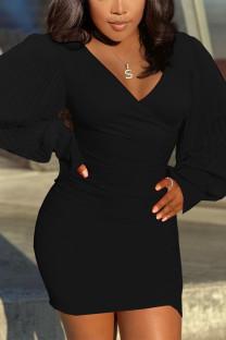 Black Sexy Solid Split Joint V Neck Wrapped Skirt Dresses