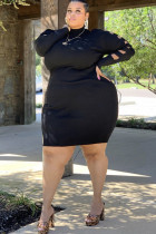Black Polyester Casual O Neck HOLLOWED OUT Burn-out Solid Stitching Plus Size Dresses