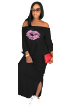 Black Casual Off The Shoulder 3/4 Length Sleeves One word collar Straight Ankle-Length Print Casual Dress