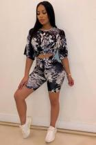 Black Polyester Fashion Sexy Two Piece Suits Sequin Slim fit crop top Bandage Skinny Half Sleeve Two-Piec