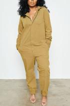 Yellow Fashion street Solid Cotton Long Sleeve Turndown Collar Jumpsuits