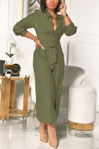 Green Fashion Casual Solid Basic Turndown Collar Regular Jumpsuits