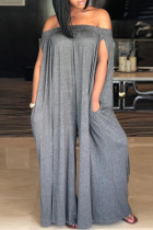 Grey Fashion Casual Solid Backless Off the Shoulder Loose Jumpsuits