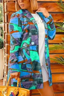 Blue Casual Print Graffiti Turndown Collar Outerwear
