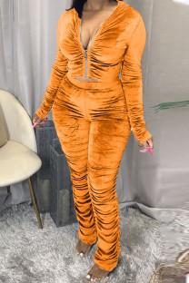Orange Yellow Fashion Sexy Adult Pleuche Solid Fold Hooded Collar Long Sleeve Regular Sleeve Regular Two Pieces