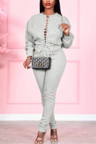 Grey Fashion Casual Solid Strap Design O Neck Long Sleeve Two Pieces