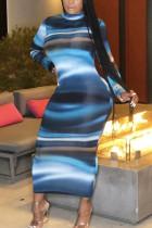 Blue Fashion Casual Adult Milk Fiber Print Split Joint O Neck Long Sleeve Ankle Length Printed Dress Dresses