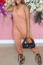 Orange Fashion Casual Solid Basic V Neck Regular Jumpsuits