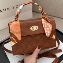 Brown Fashion Patchwork Crossbody Bag