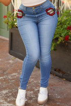 Blue Daily Solid Buttons High Waist Skinny Jeans