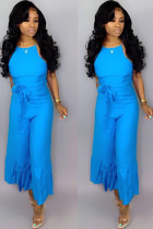 Blue Sexy zipper Draped Solid flax Sleeveless Slip Jumpsuits