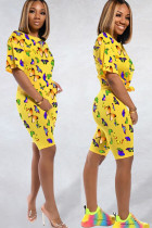 Yellow knit Fashion Sexy adult Ma'am Patchwork Print Two Piece Suits Straight Short Sleeve Two Pieces