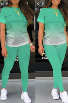 Light Green Casual Gradual Change Split Joint O Neck Short Sleeve Two Pieces