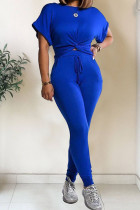 Royal blue Polyester Fashion Casual Patchwork Solid Two Piece Suits pencil Short Sleeve Two Pieces