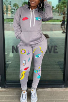 Silver Fashion Casual Adult Polyester Print Split Joint Hooded Collar Long Sleeve Regular Sleeve Regular Two Pieces