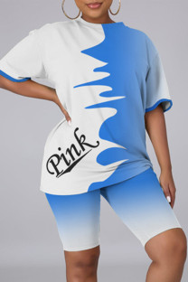 Blue Fashion Casual Letter Print Basic O Neck Short Sleeve Two Pieces