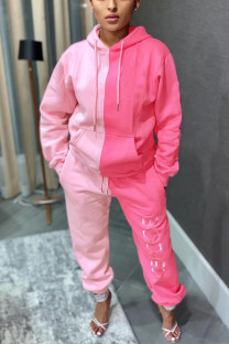 Pink Sportswear Print Split Joint Hooded Collar Long Sleeve Two Pieces