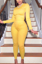 Yellow Sexy Polyester Solid Backless O Neck Long Sleeve Regular Sleeve Short Two Pieces