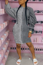 Grey Fashion Sexy Polyester Patchwork Solid Bandage Split Joint Basic O Neck Long Sleeve Knee Length Pencil Skirt Dresses
