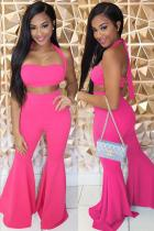 rose red Polyester Sexy Fashion adult Bandage backless Solid Two Piece Suits Boot Cut Sleeveless Two-piece P