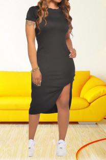 Black Casual Solid Split Joint O Neck Irregular Dress Dresses